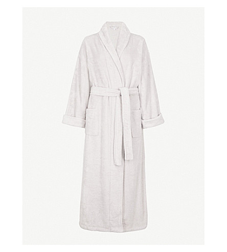 THE WHITE COMPANY Cotton-towelling robe (Pearl+grey