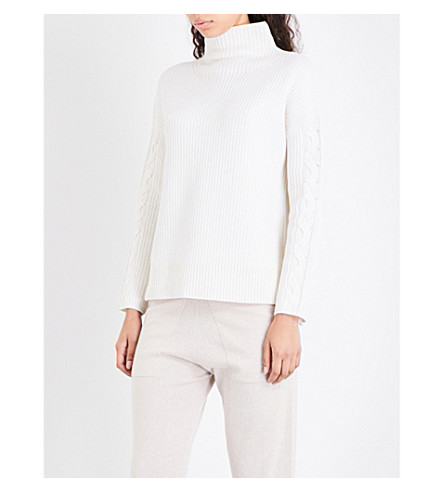 THE WHITE COMPANY Turtleneck cable-knit wool jumper (Porcelain