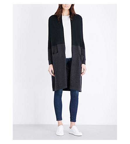 THE WHITE COMPANY Colour-block wool and cotton-blend cardigan (Black