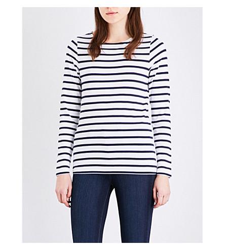 THE WHITE COMPANY Breton striped stretch-cotton top (White/navy