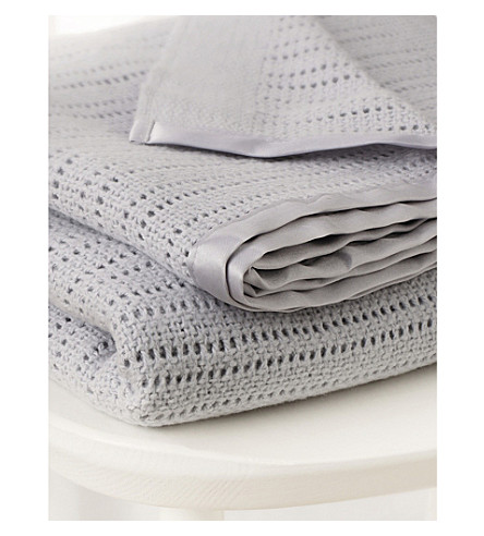 THE LITTLE WHITE COMPANY Cellular cotton blanket pram size (Grey