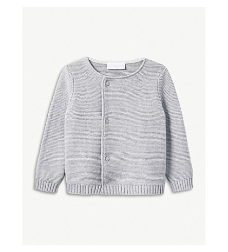 THE LITTLE WHITE COMPANY Knitted cotton cardigan 0-24 months (Grey