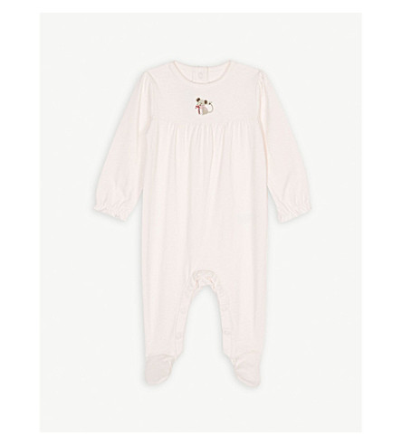 THE LITTLE WHITE COMPANY Christmas mouse cotton bodysuit 0-24 months (Chalk+pink