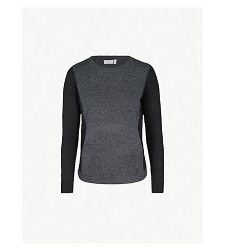 THE WHITE COMPANY Contrast-panels knitted jumper (Darkcharcmarl