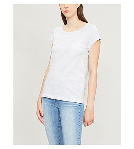 THE WHITE COMPANY Rolled-cuff cotton-jersey T-shirt (Chalk+blue