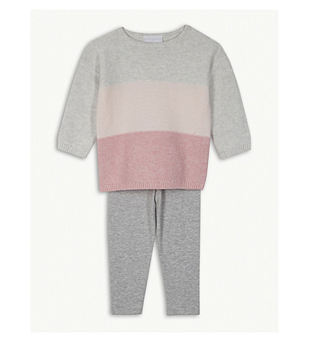 THE LITTLE WHITE COMPANY Colour block cotton jumper and leggings set 1-6 years (Multi