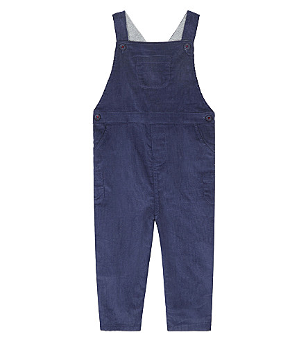 THE LITTLE WHITE COMPANY Corduroy dungarees 0-24 months (Blue+indigo