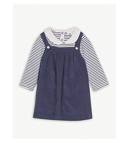 THE LITTLE WHITE COMPANY Corduroy pinafore dress set 0-24 months (Blue+indigo