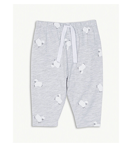 THE LITTLE WHITE COMPANY Counting sheep cotton leggings 0-18 months (Grey