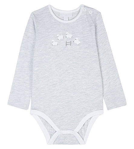THE LITTLE WHITE COMPANY Counting sheep appliquéd cotton body suit 0-18 months (Grey