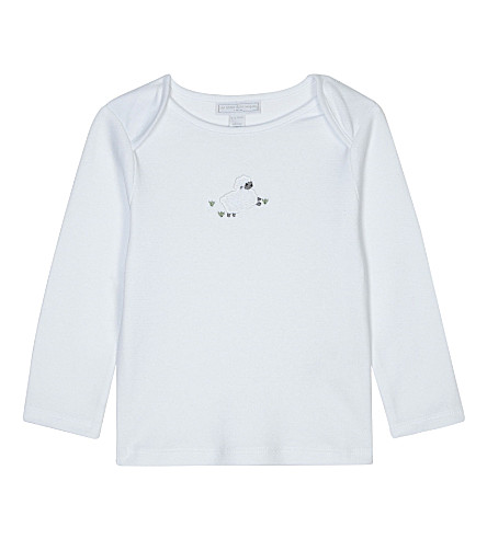 THE LITTLE WHITE COMPANY Embroidered lamb long-sleeved cotton top 0-18 months (White