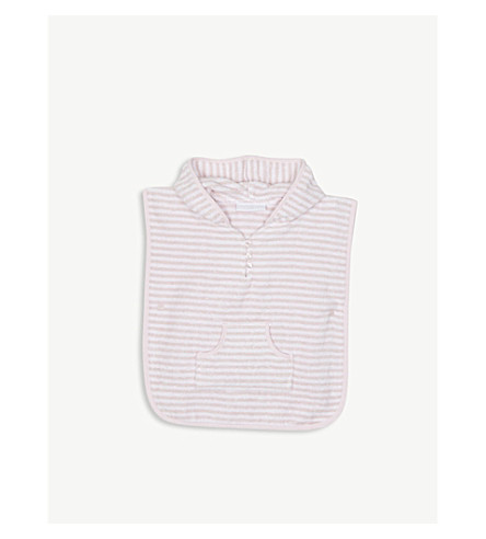 THE LITTLE WHITE COMPANY Striped cotton towel poncho 0-24 months (Pink