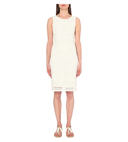THE WHITE COMPANY Sleeveless lace-embroidered shift dress (Porcelain