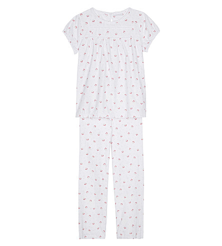 THE LITTLE WHITE COMPANY Cherry print cotton pyjamas 6-12 years (White