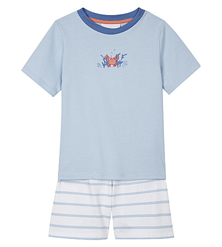 THE LITTLE WHITE COMPANY Christopher Crab striped cotton pyjamas 1-6 years (Pale+blue