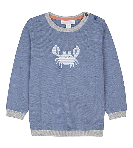 THE LITTLE WHITE COMPANY Crab motif cotton jumper 0-24 months (Blue