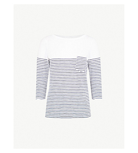 THE WHITE COMPANY Fine stripe slub-knit cotton-jersey top (Navy/white