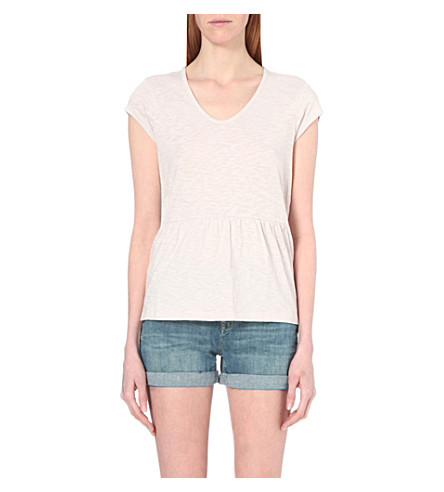 THE WHITE COMPANY Peplum-hem cotton-jersey top (Ash+rose