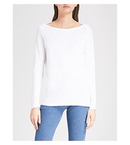 THE WHITE COMPANY Scalloped neckline cotton top (White