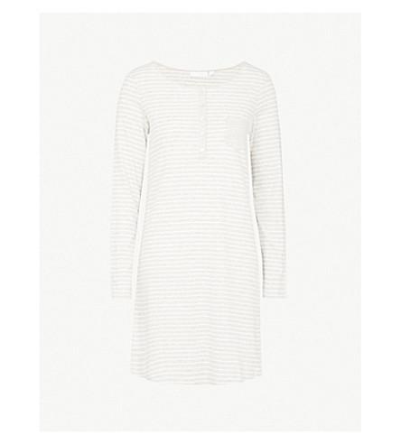 THE WHITE COMPANY Stripe pattern cotton nightdress (Cloud+marl
