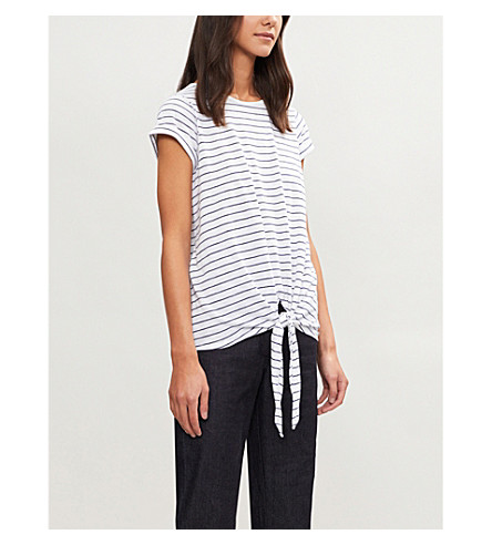 THE WHITE COMPANY Striped cotton-jersey T-shirt (Navy/white