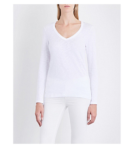 THE WHITE COMPANY Slub-patterend cotton-jersey top (White