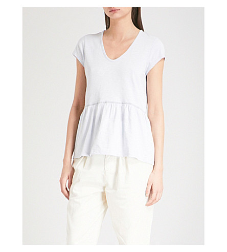 THE WHITE COMPANY Lace trim peplum-hem cotton top (Pale+blue