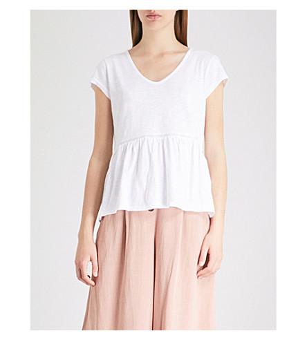 THE WHITE COMPANY Lace trim peplum-hem cotton top (White