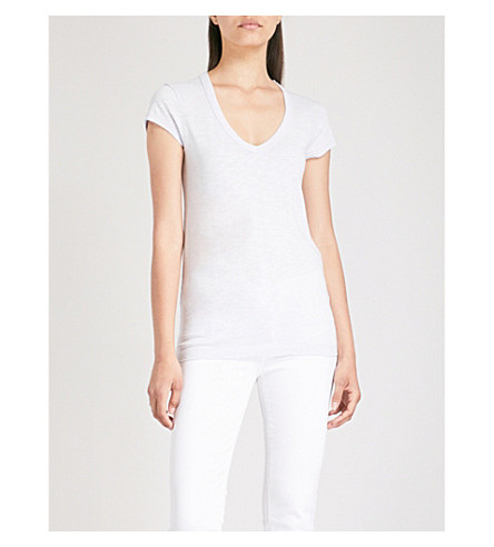 THE WHITE COMPANY V-neck cotton-jersey T-shirt (Chalk+blue