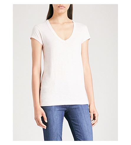 THE WHITE COMPANY V-neck cotton-jersey T-shirt (Pale+pink