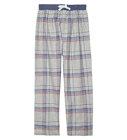 THE LITTLE WHITE COMPANY Chieftan checked cotton pyjama bottoms 4-12 years (Grey+marl