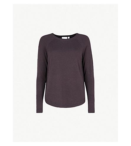 THE WHITE COMPANY Notched-side fine-knit jumper (Blackberry
