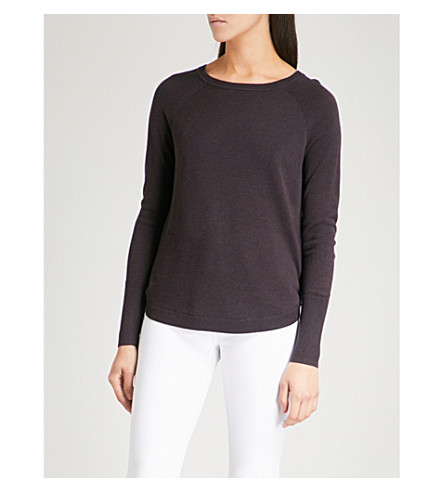 THE WHITE COMPANY Notched-sides fine-knit jumper (Blackberry