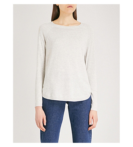 THE WHITE COMPANY Notched-sides fine-knit jumper (Cloud+marl