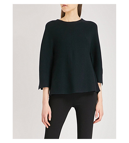 THE WHITE COMPANY Relaxed-fit three-quarter-length knitted jumper (Midnight
