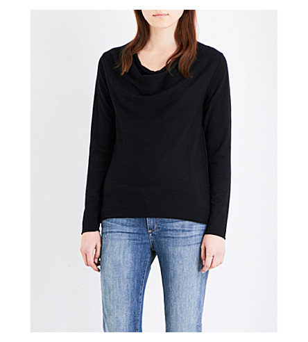 THE WHITE COMPANY Cowl-neck cotton-blend knitted top (Black