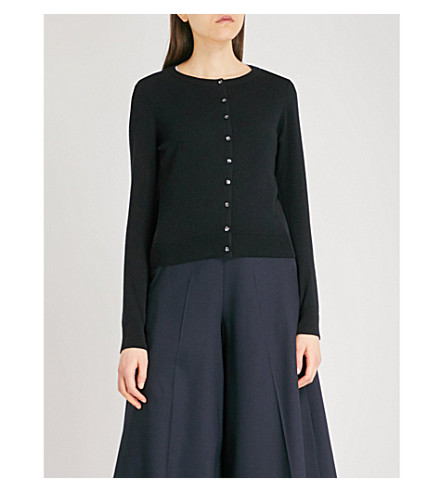 THE WHITE COMPANY Crystal button cardigan (Black