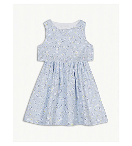 THE LITTLE WHITE COMPANY Daisy print cotton dress 1-6 years (Pale+blue