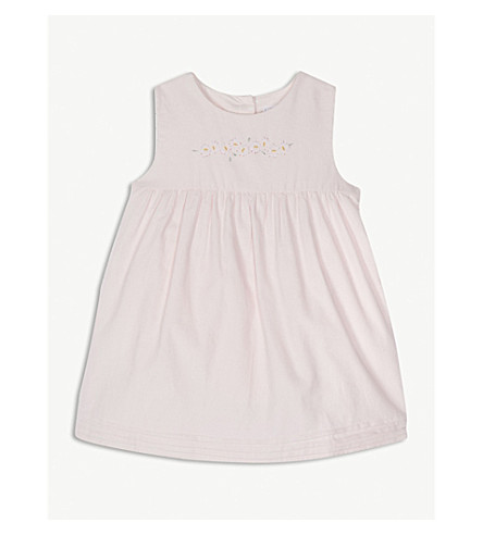THE LITTLE WHITE COMPANY Flower-print cotton dress 0-24 months (Whisper+pink