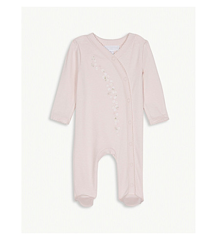 THE LITTLE WHITE COMPANY Embroidered daisy cotton sleepsuit newborn-24 months (Chalk+pink