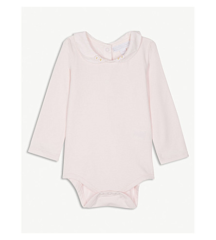 THE LITTLE WHITE COMPANY Embroidered daisy stretch-cotton babygrow 0-24 months (Pink