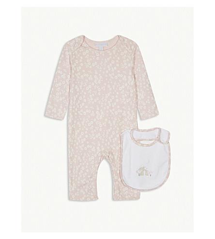 THE LITTLE WHITE COMPANY Daisy print cotton bodysuit & bib set 0-24 months (Chalk+pink
