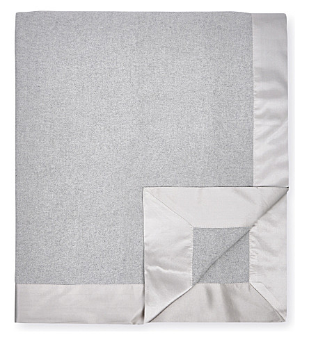 THE WHITE COMPANY Addison large cotton-flannel throw (Silver+grey