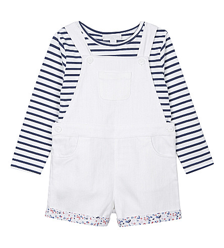 THE LITTLE WHITE COMPANY Denim dungarees and top set 1-6 years (White