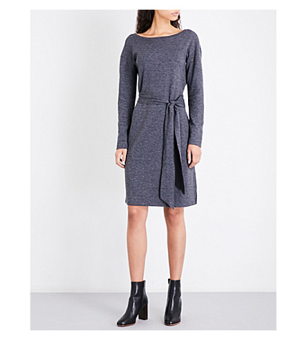 THE WHITE COMPANY Tie-belt cotton-blend dress (Darkcharcmarl