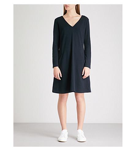 THE WHITE COMPANY V-neck cotton-blend dress (Navy