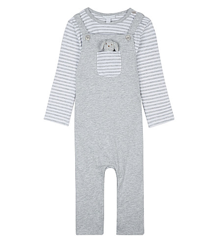THE LITTLE WHITE COMPANY Cotton dungaree & dog toy set 0-24 months (Silvergreymarl