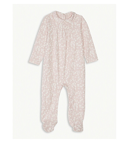 THE LITTLE WHITE COMPANY Daisy print collared cotton bodysuit 0-24 months (Chalk+pink