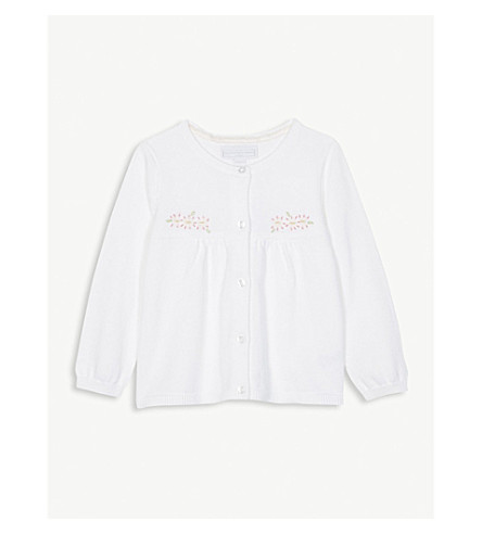 THE LITTLE WHITE COMPANY Daisy embroidered cotton cardigan 0-24 months (White