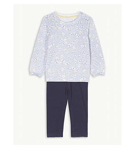 THE LITTLE WHITE COMPANY Daisy knitted cotton jumper and leggings set 0-24 months (Multi